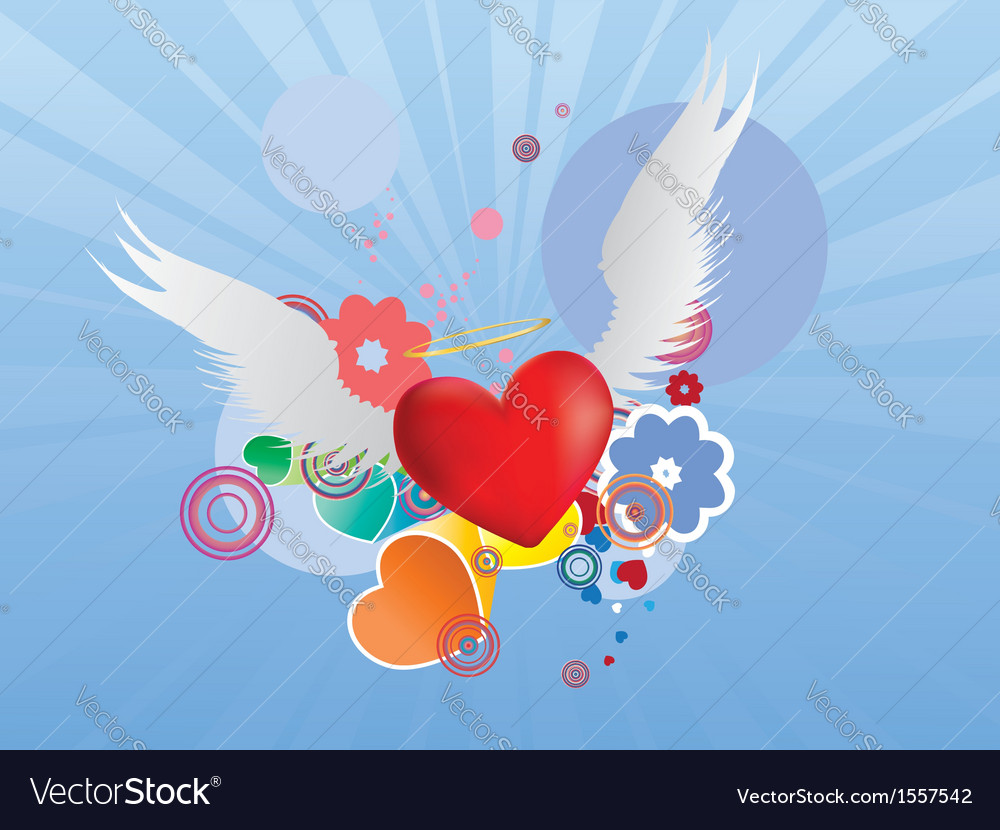 Red heart with angel wings vector