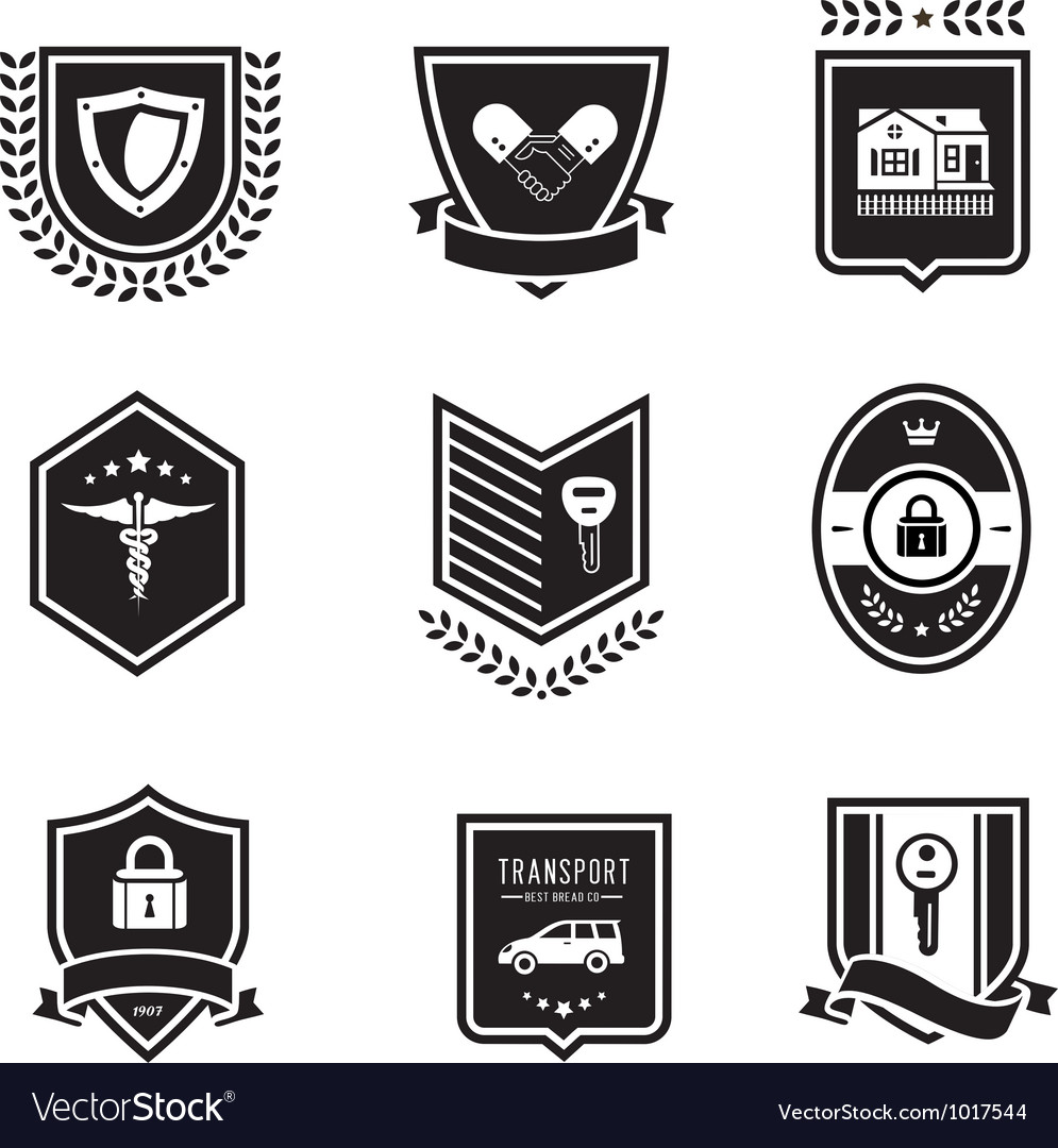 Handshake insurance badges vector