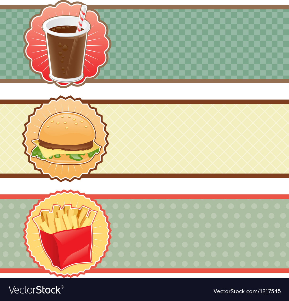 Banners fast food with cola hamburger and fries vector