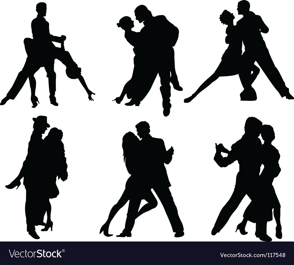Tango dancers silhouettes vector
