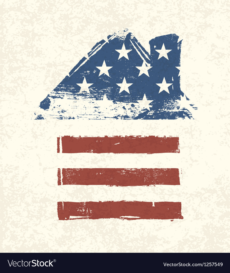American flag house shaped vector