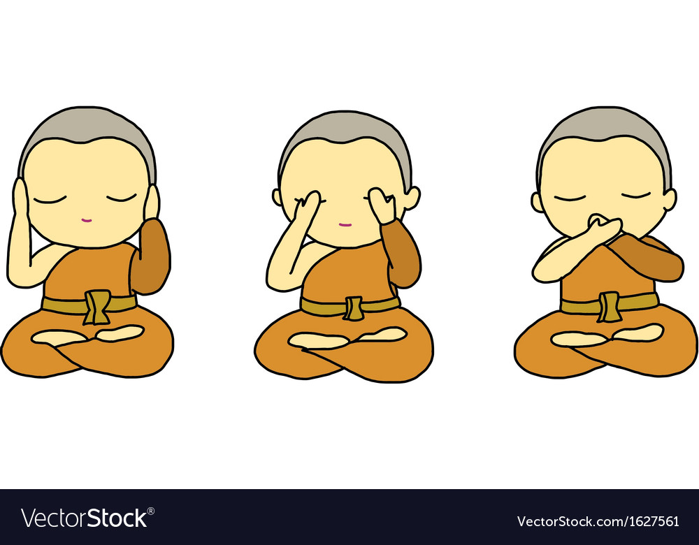 Little monks closing ears eyes and mouth vector