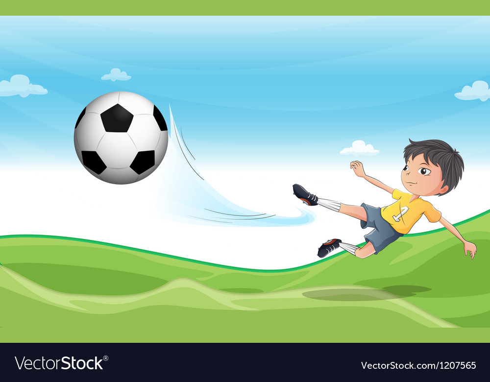 A boy playing football at the hills vector