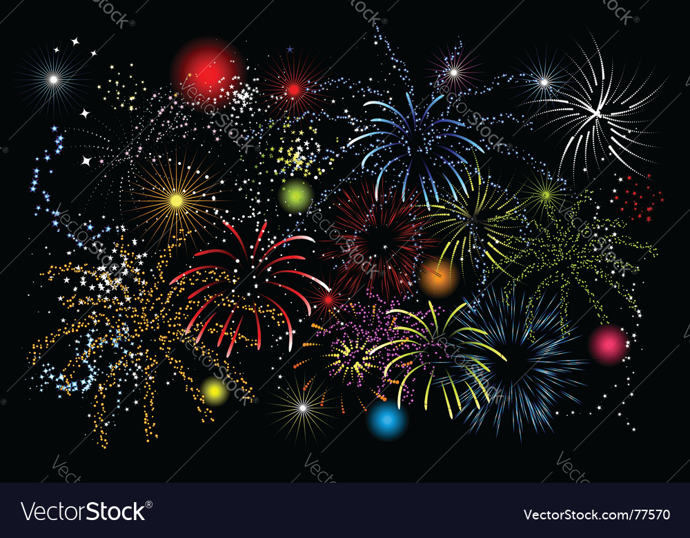 Fireworks holiday night vector