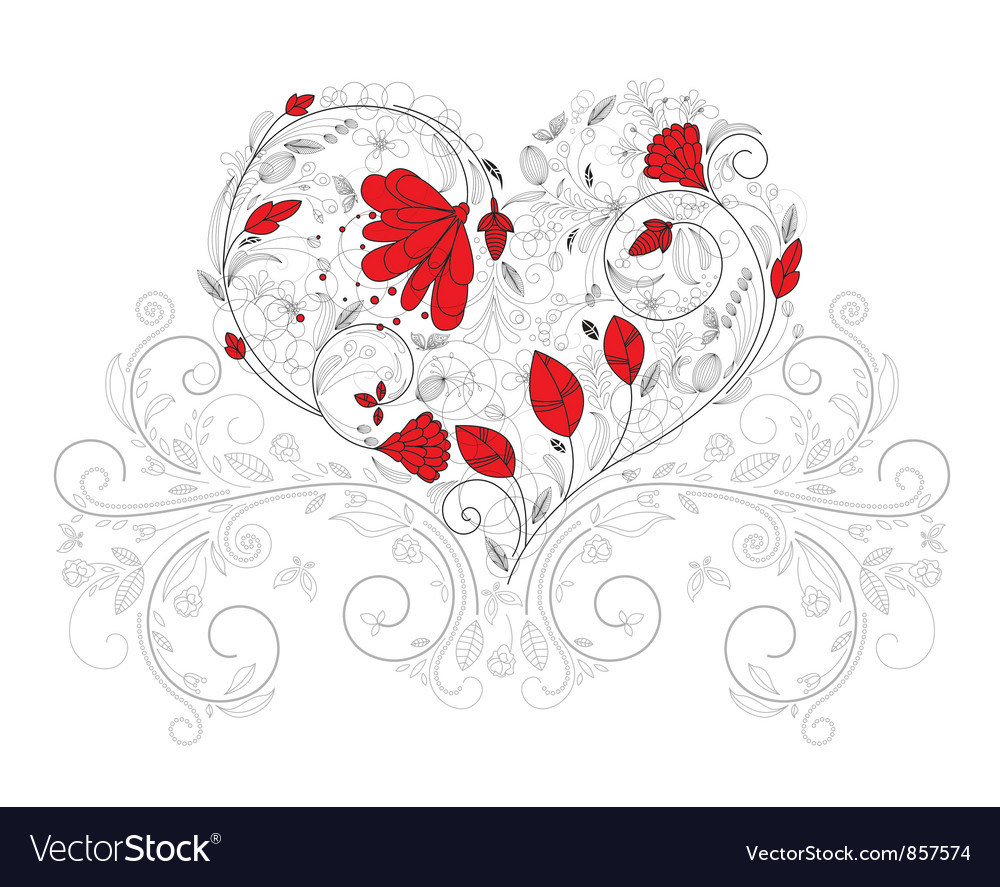 Free heart made of floral vector