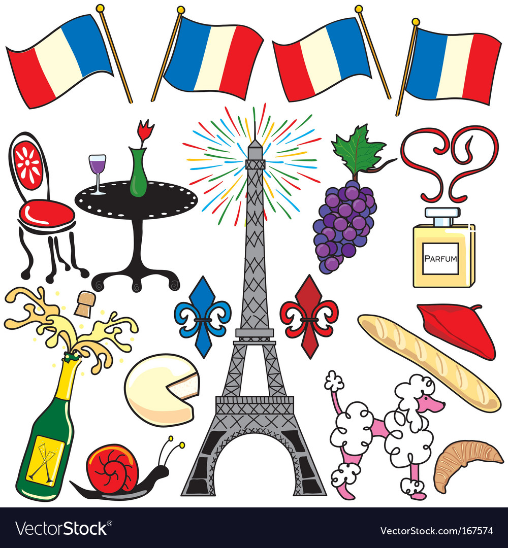 Paris france clipart elements vector