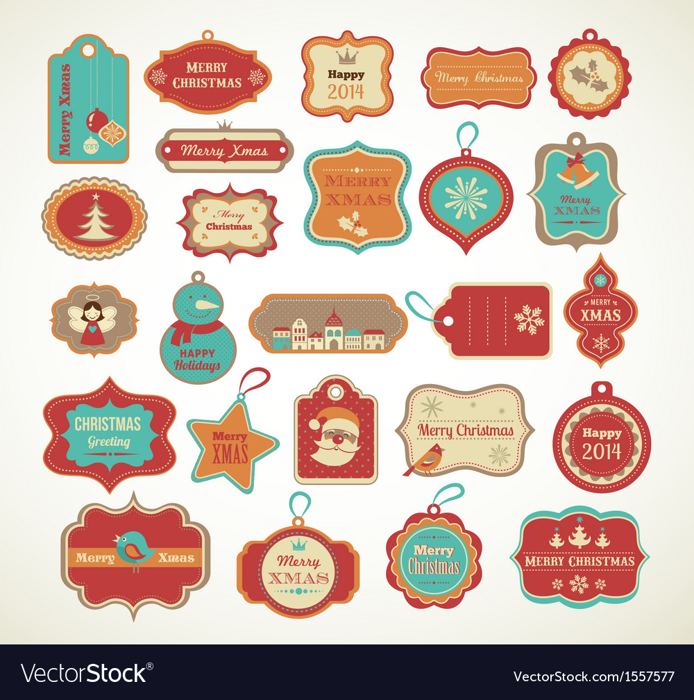 Xmas set  labels tags and decorative elements vector