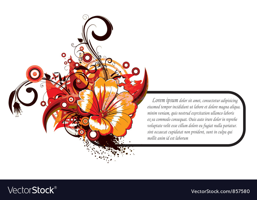 Free abstract floral frame vector