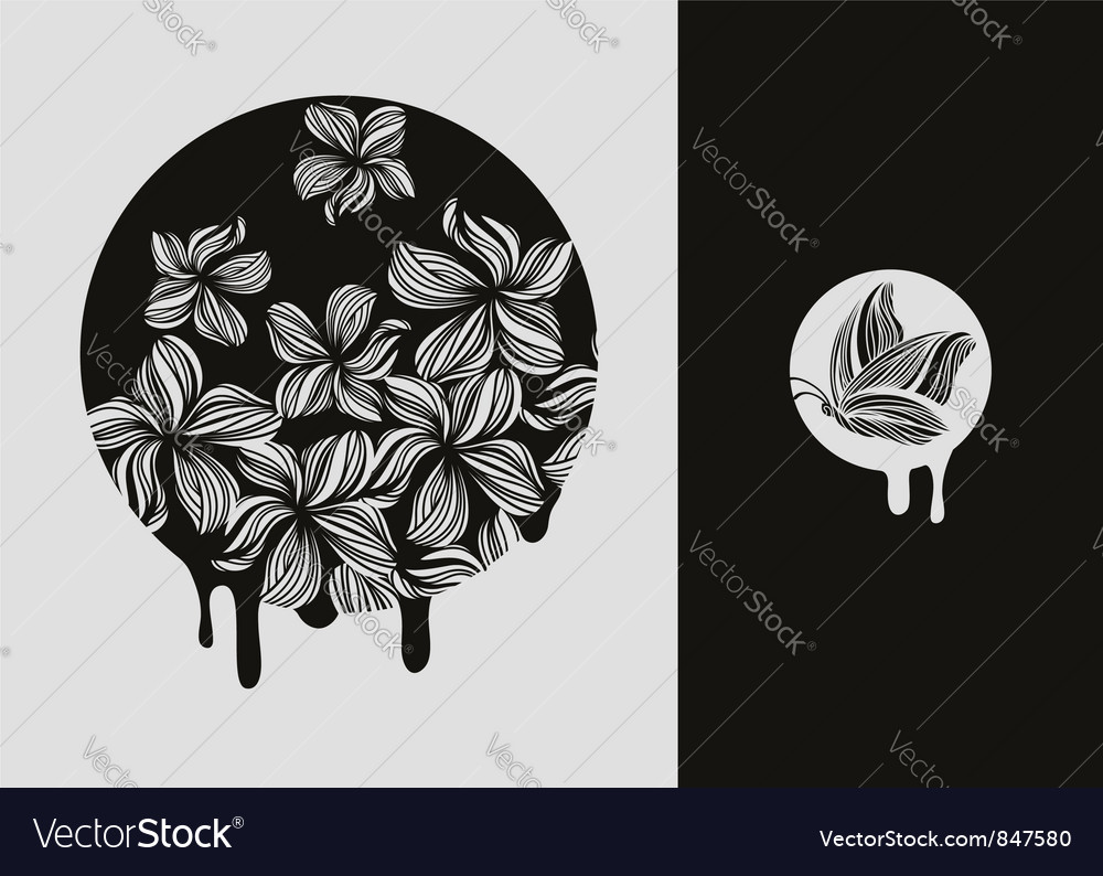 Flowers and butterfly  elements for design vector