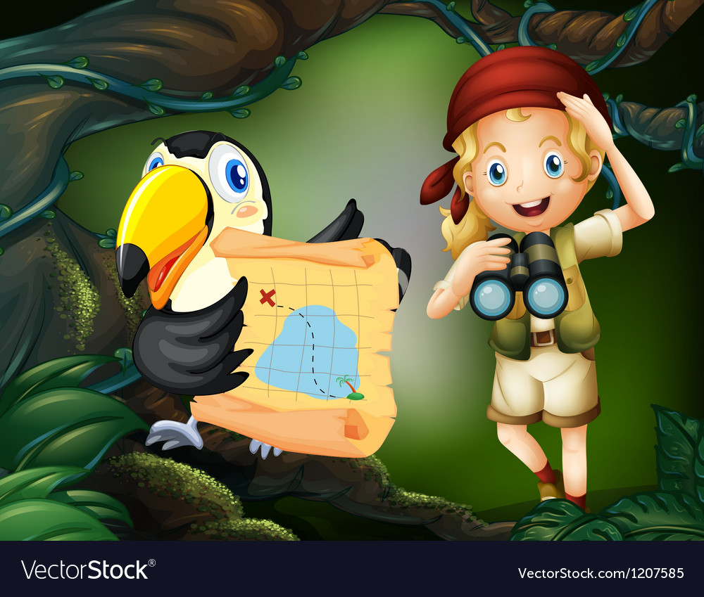 A girl with a telescope and a bird with a map vector