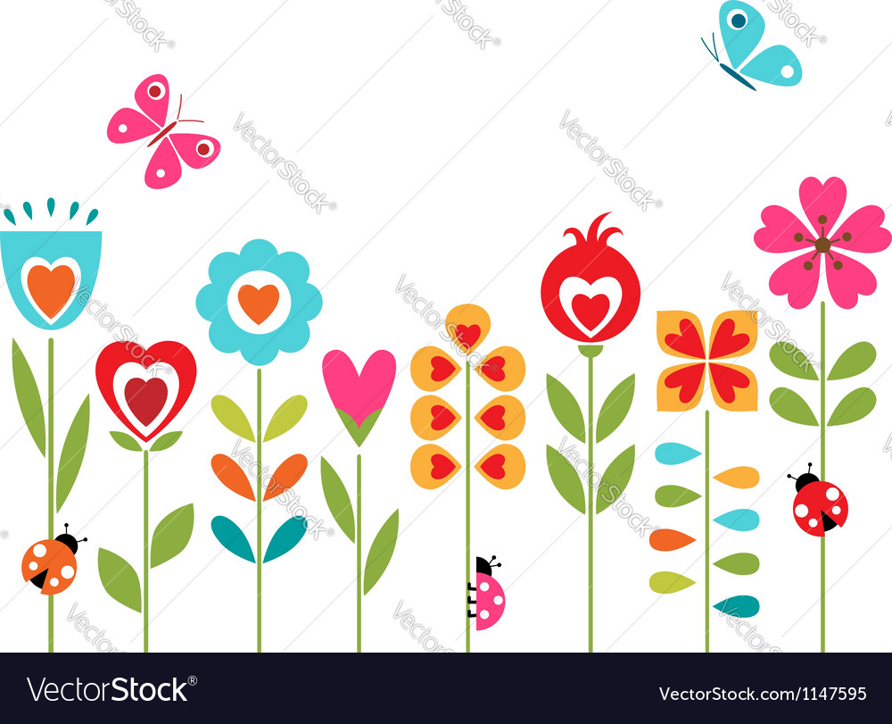 Flower hearts design vector