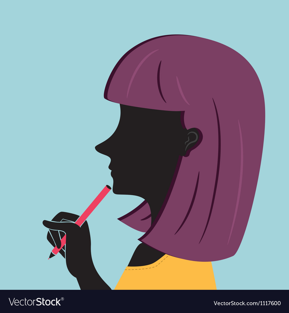 Woman holding pen vector