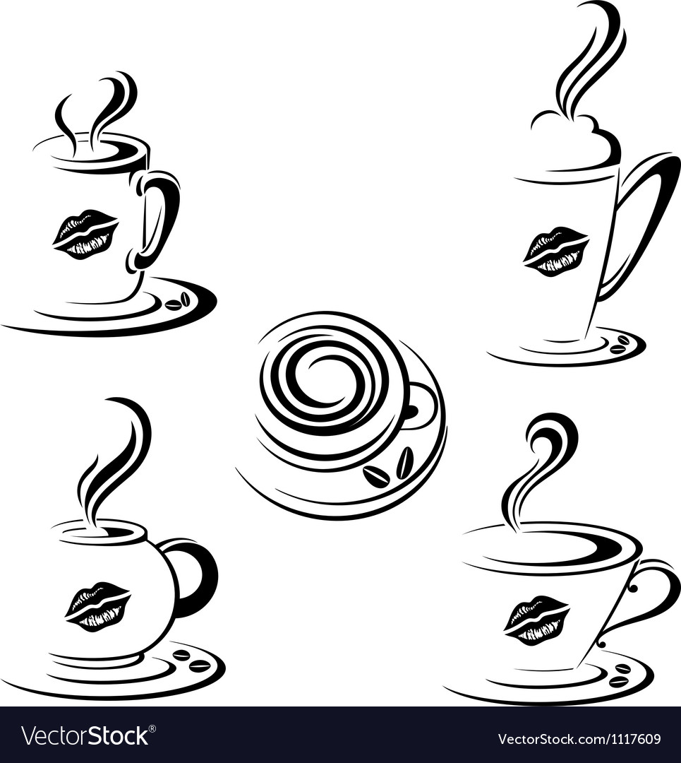 Hot coffee mugs vector