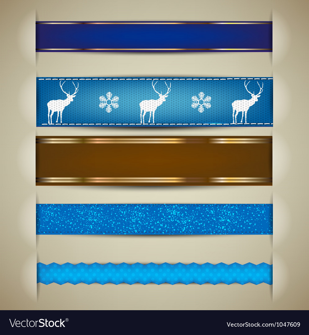 Nordic christmas ribbon banners vector