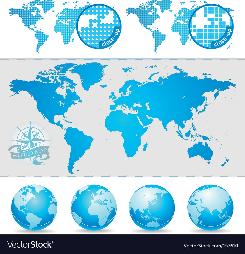 World maps and globe vector