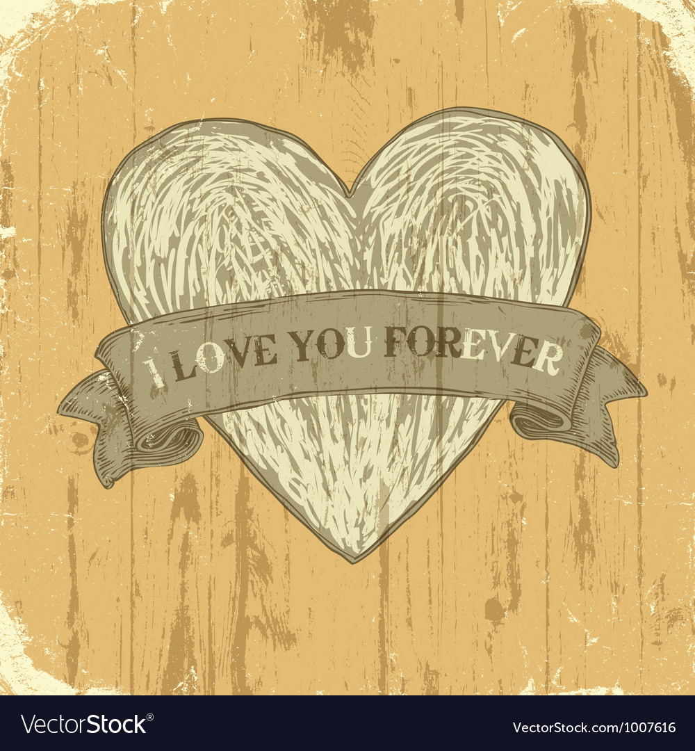 Grunge heart with ribbon background vector