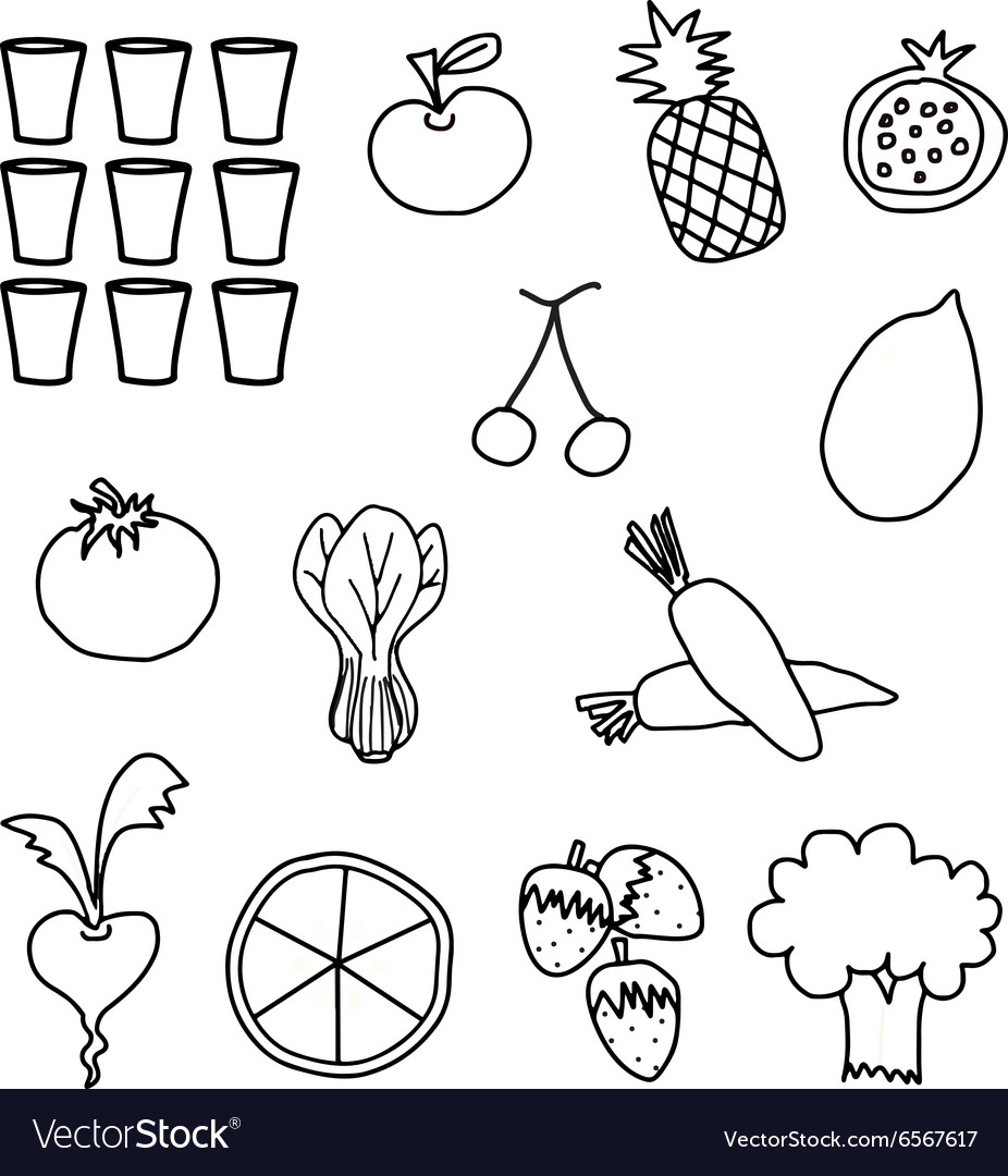 Vegetables Drawing White Black Stock Photos, Images ...