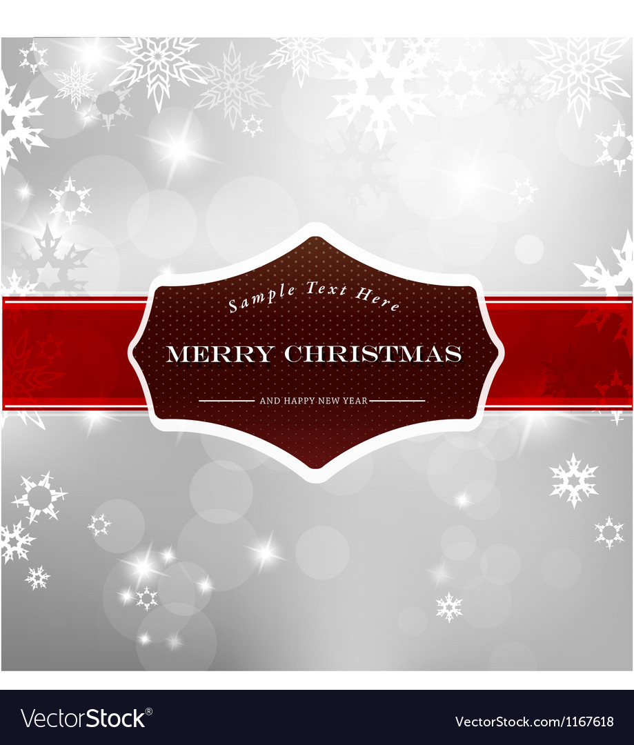 Happy christmas on silver background with snow vector