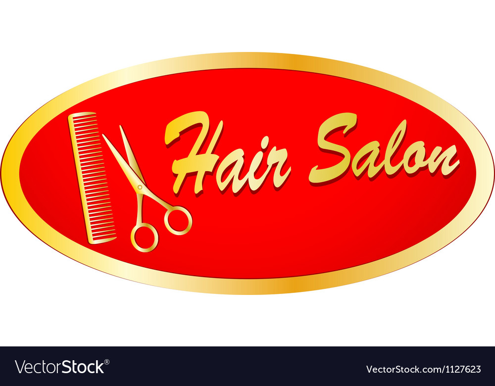 Gold sign of hair salon with scissors and comb vector