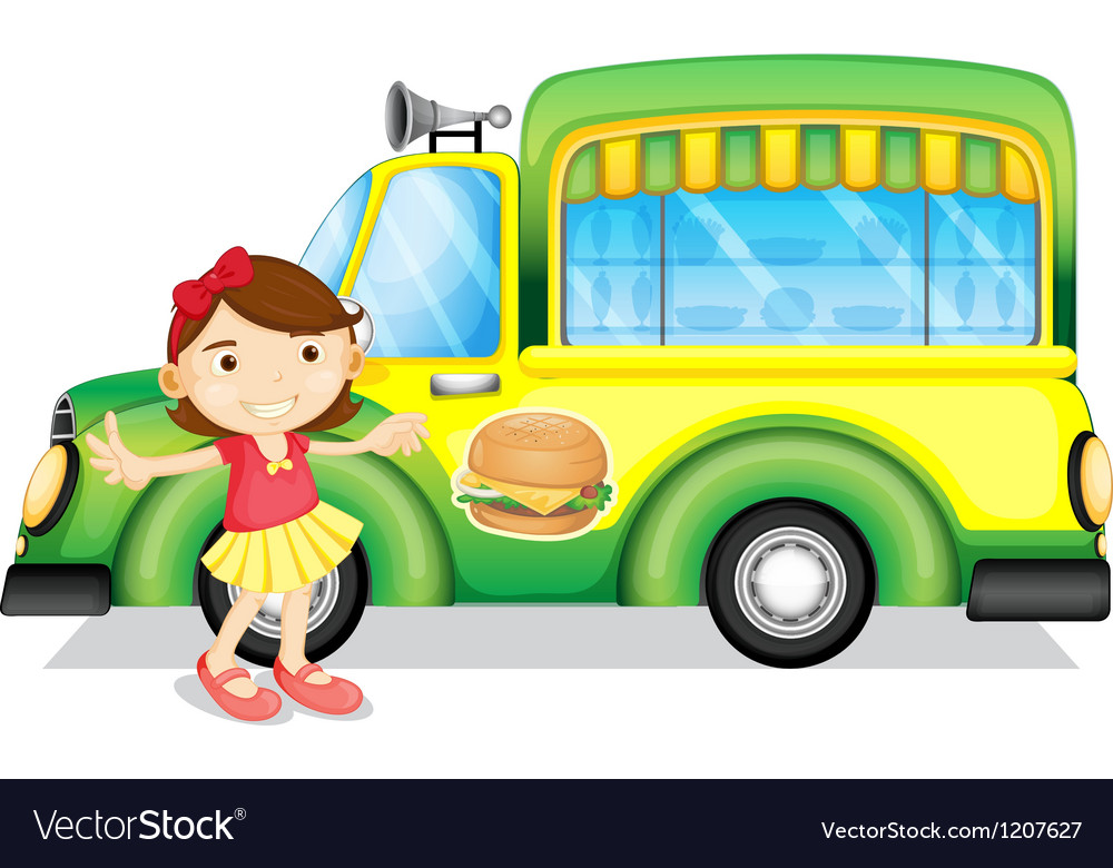 A girl beside a green burger truck vector