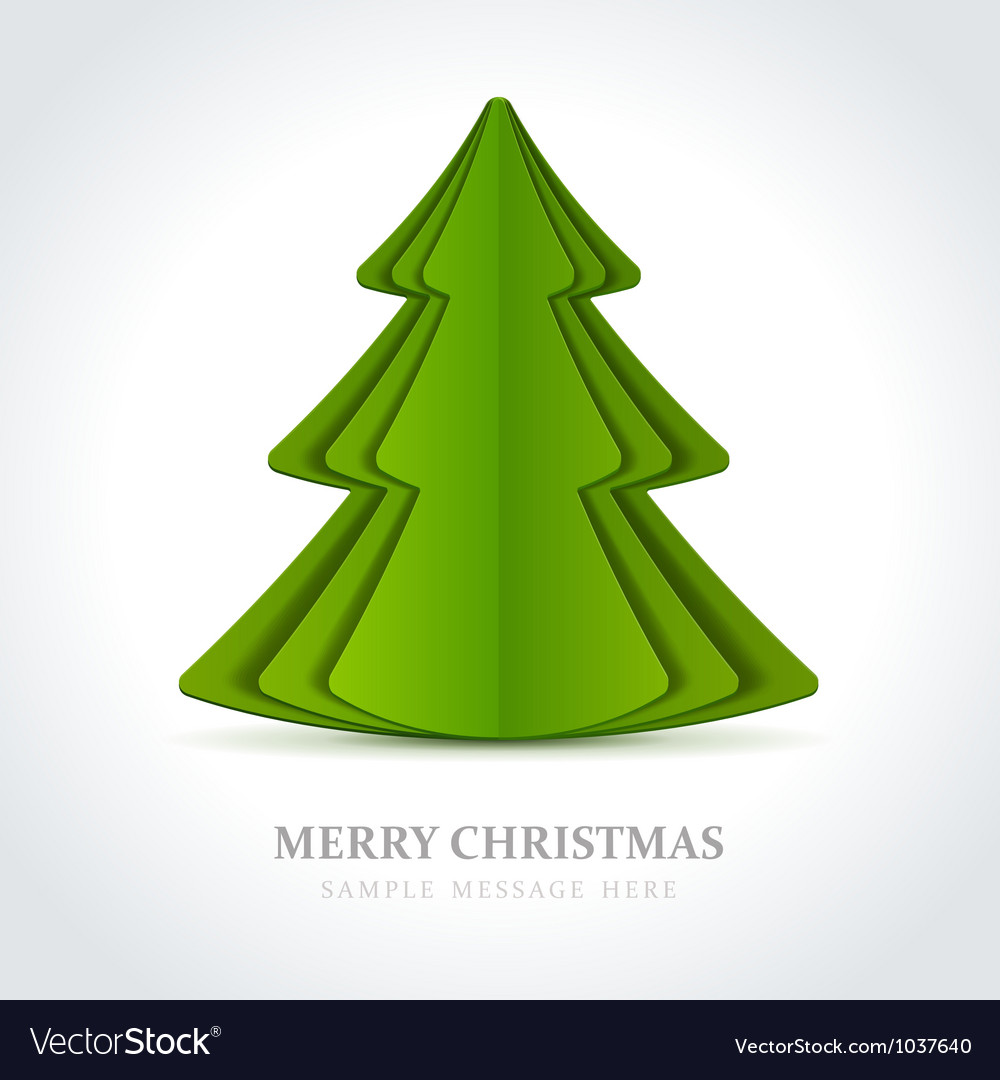 Free christmas tree from cut paper vector