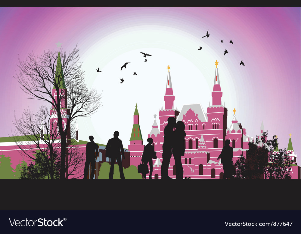 Couple kissing in the middle of square in front of vector
