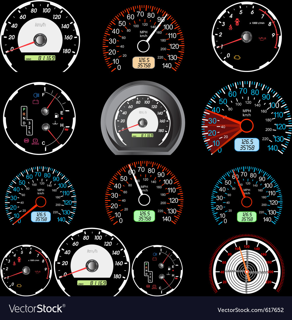 Car speedometers vector