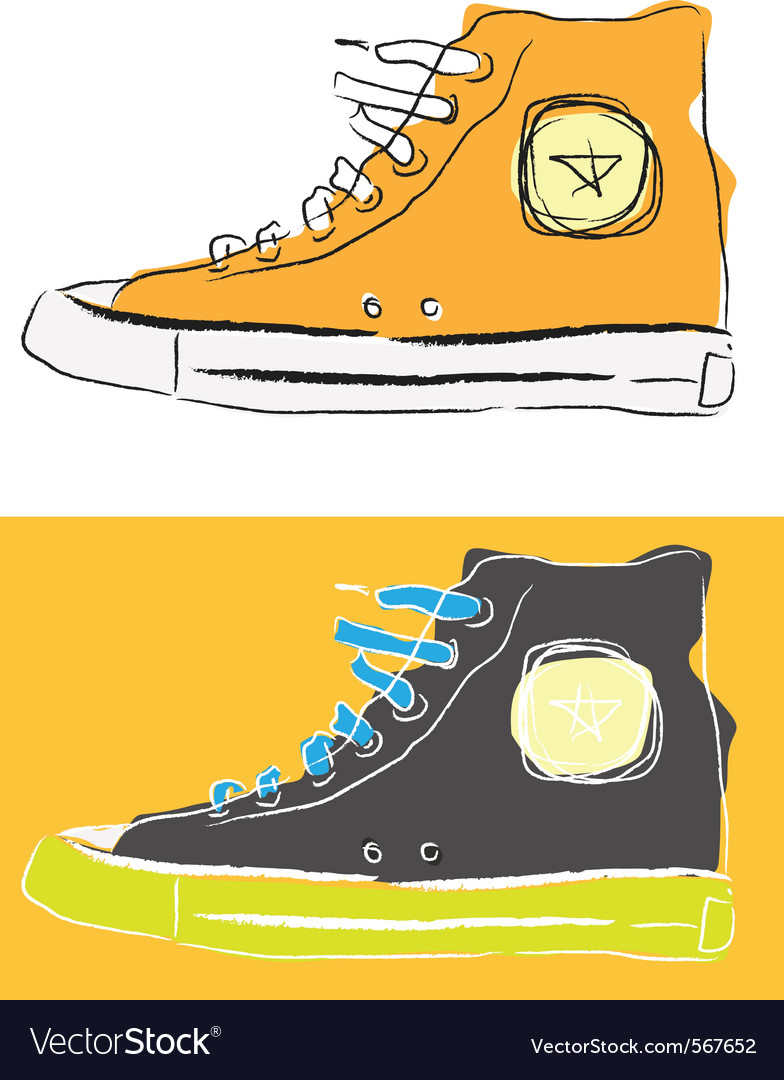 Stylized sport shoes vector