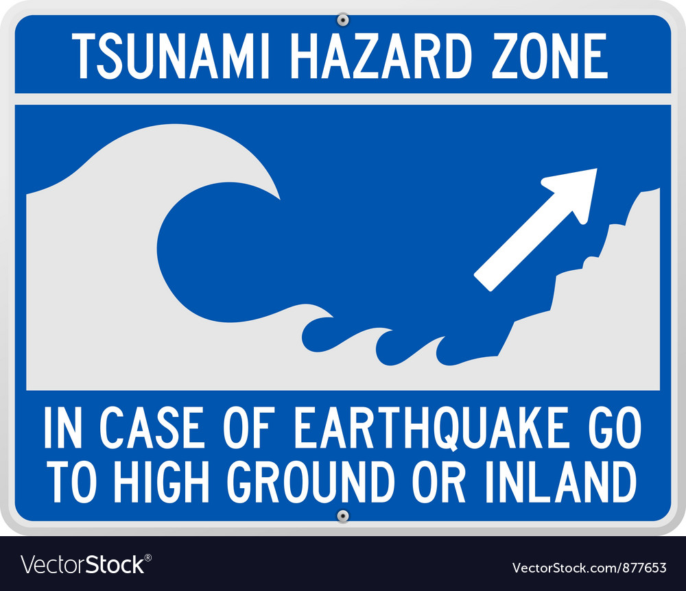 Tsunami danger sign vector