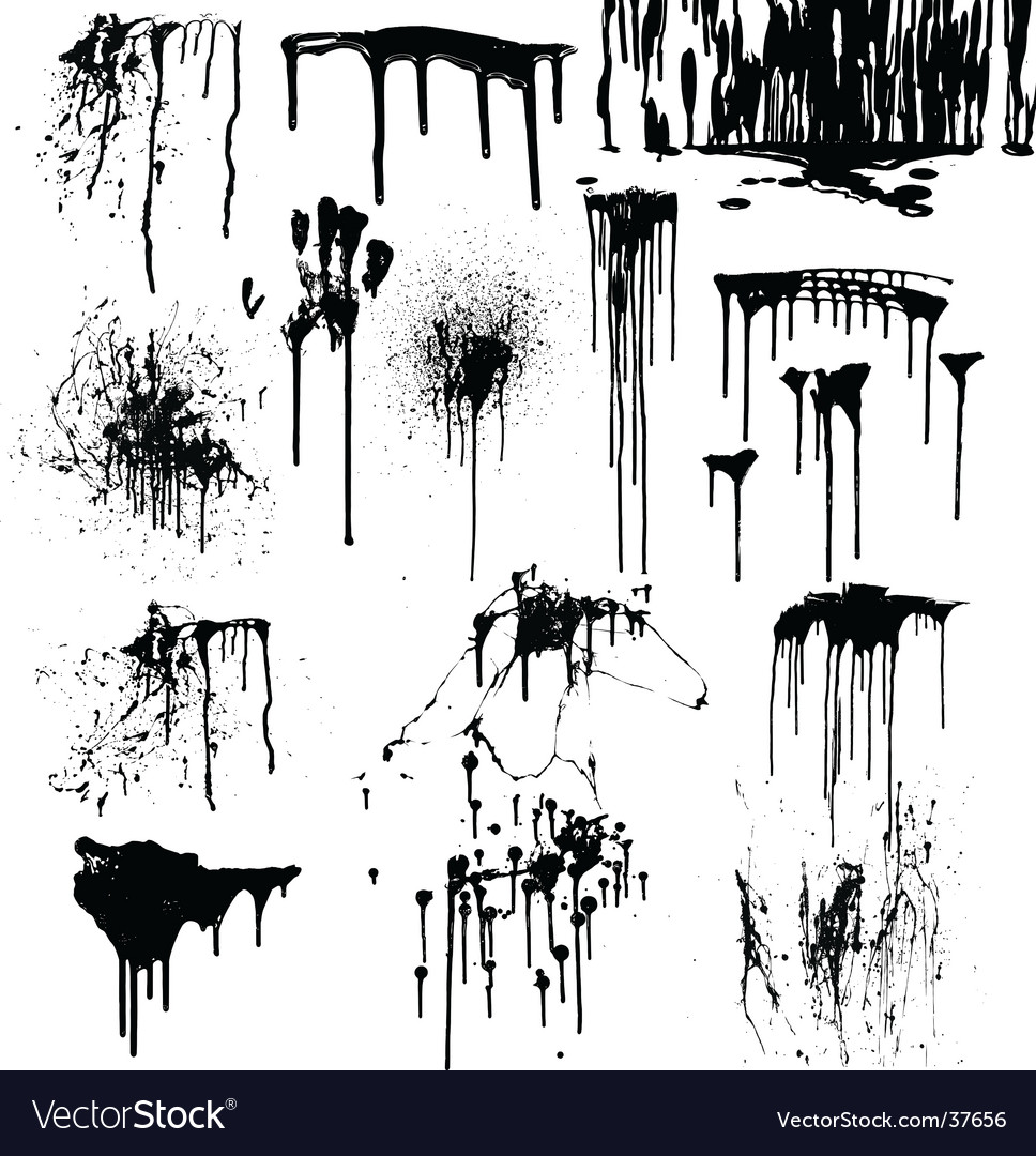 Dripping splatters of blood vector