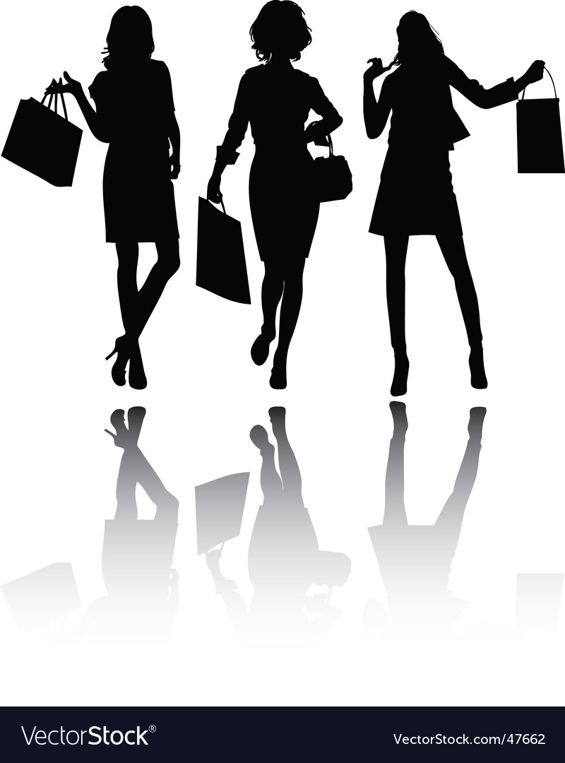 Girls shopping vector