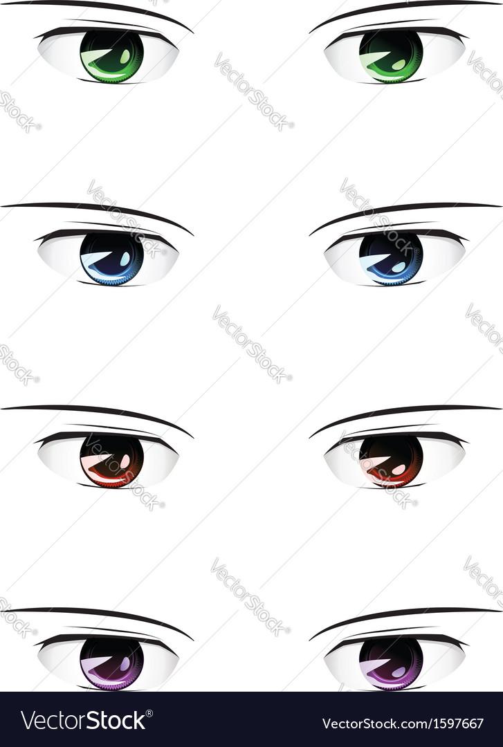 Marvelous Anime Male Eyes Vector By Artshock Image 1597667 Vectorstock Hairstyles For Men Maxibearus