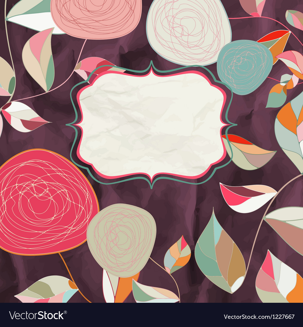 Vintage rose floral card vector