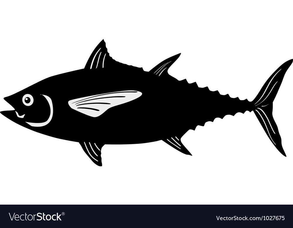 Silhouette of tuna vector