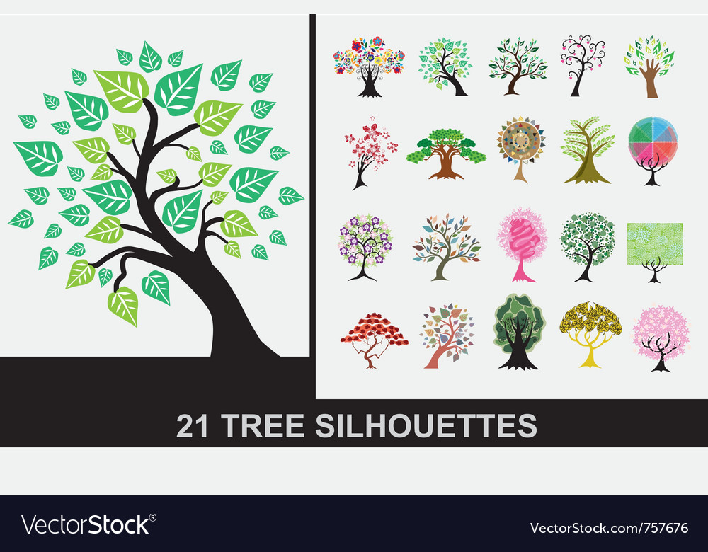 21 tree silhouettes vector