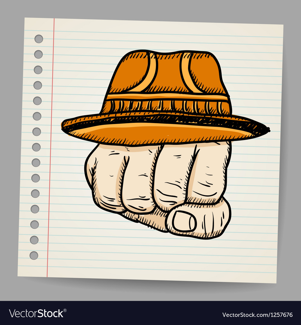 Doodle fist with hat vector