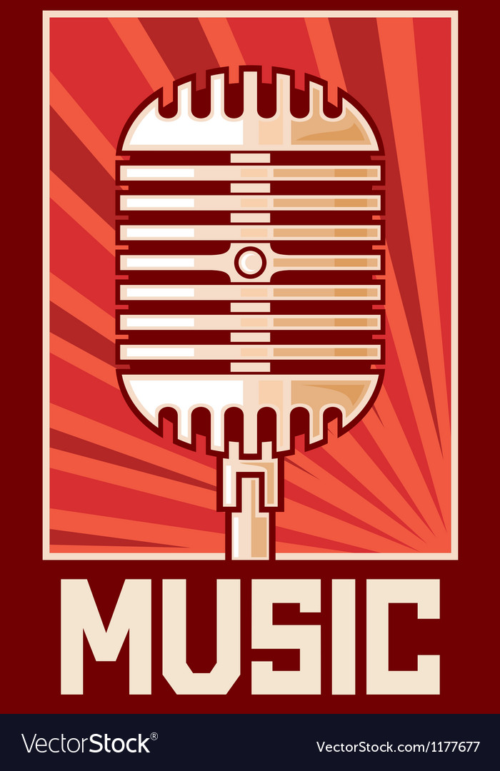 Music postermicrophone vector