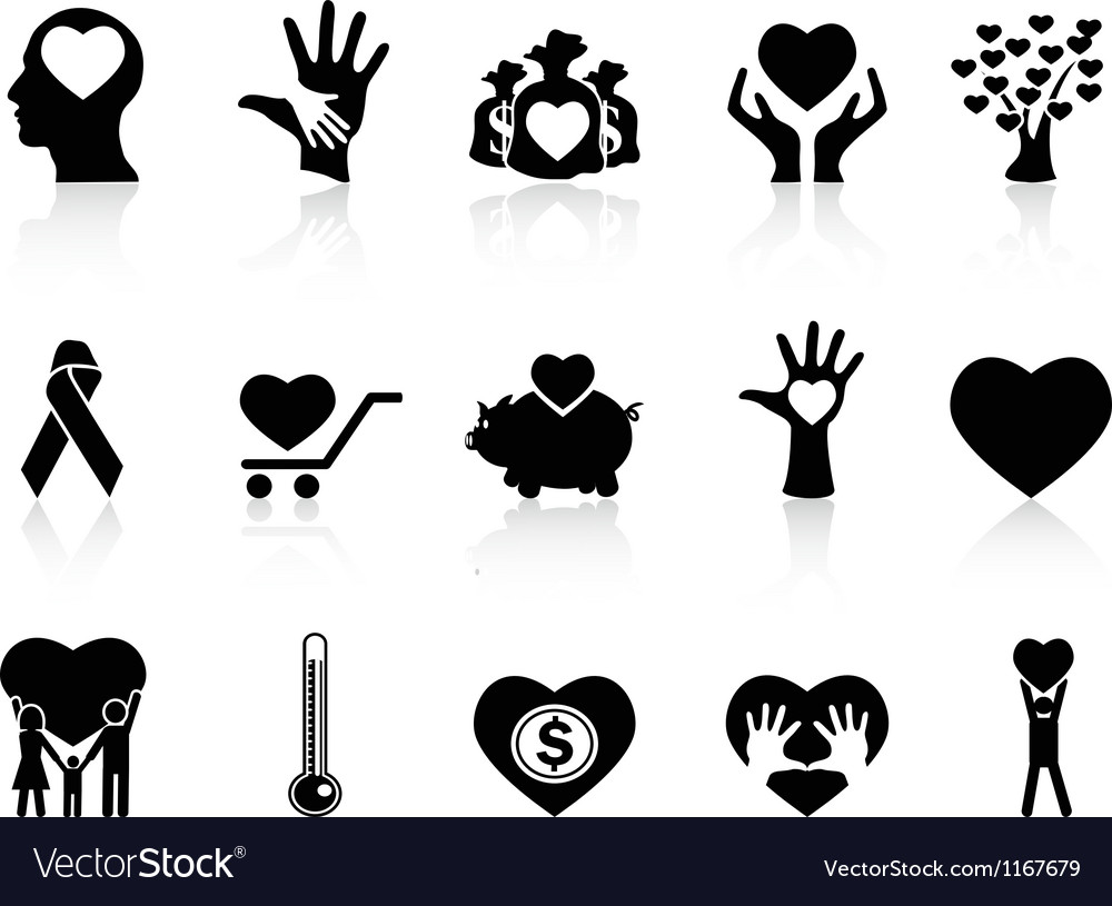 Black charity and donation icons vector