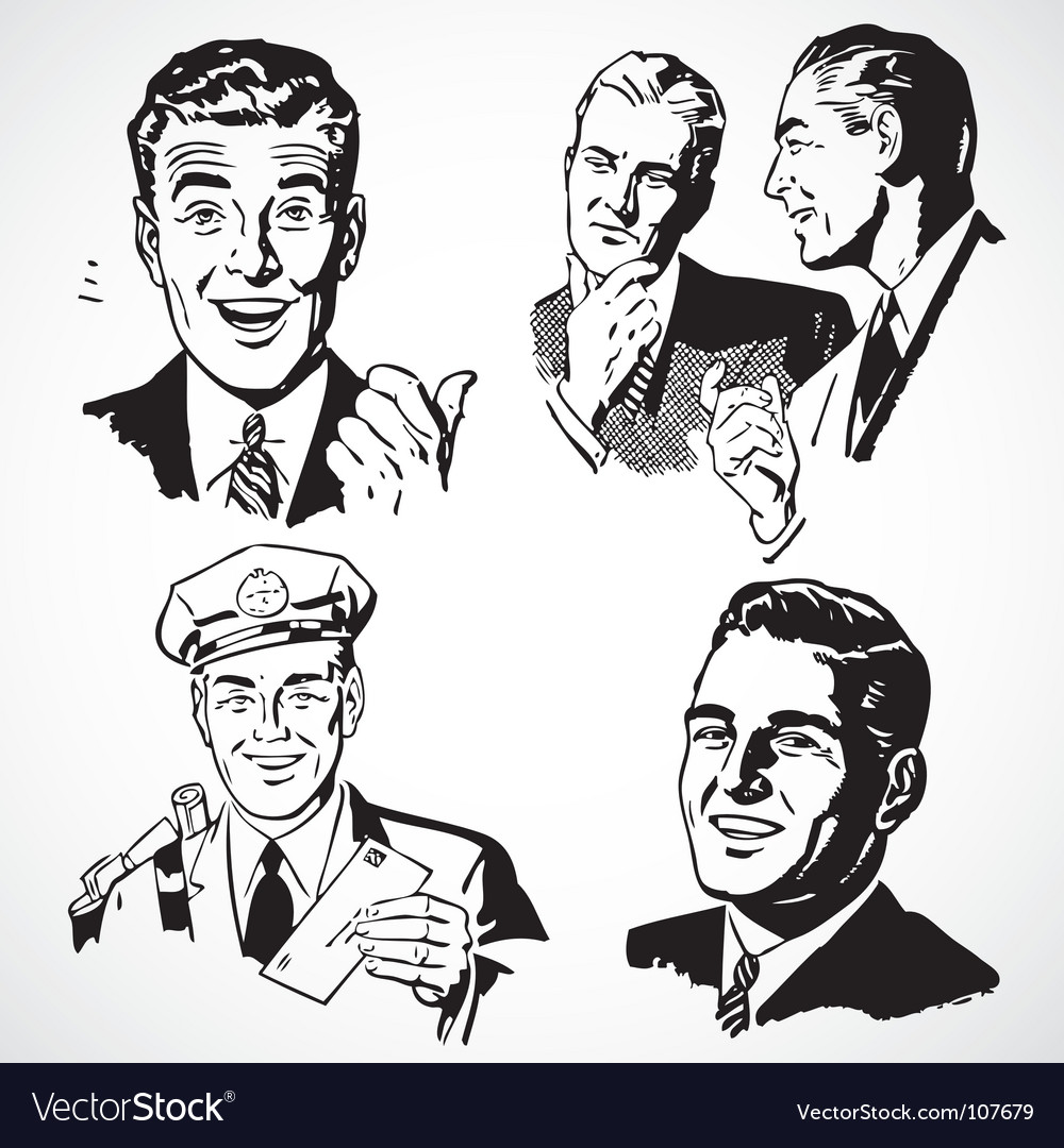 Retro businessmen vector
