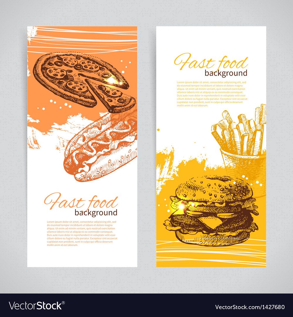Banners of fast food design vector