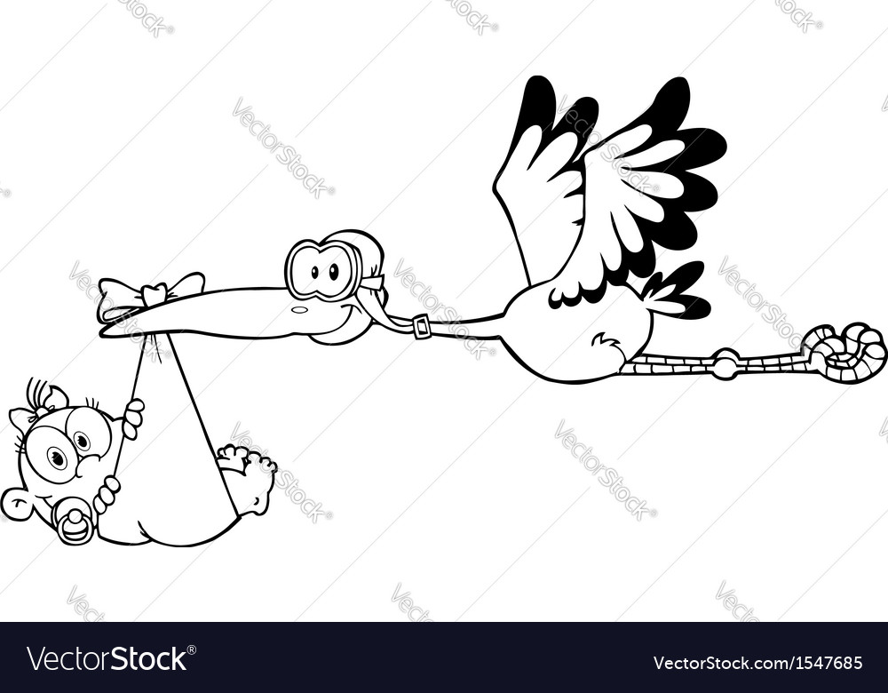 Stalk holding baby cartoon vector