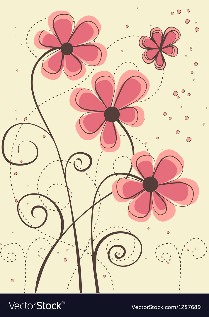 greeting card with flowers vector by voinsveta  image, Greeting card