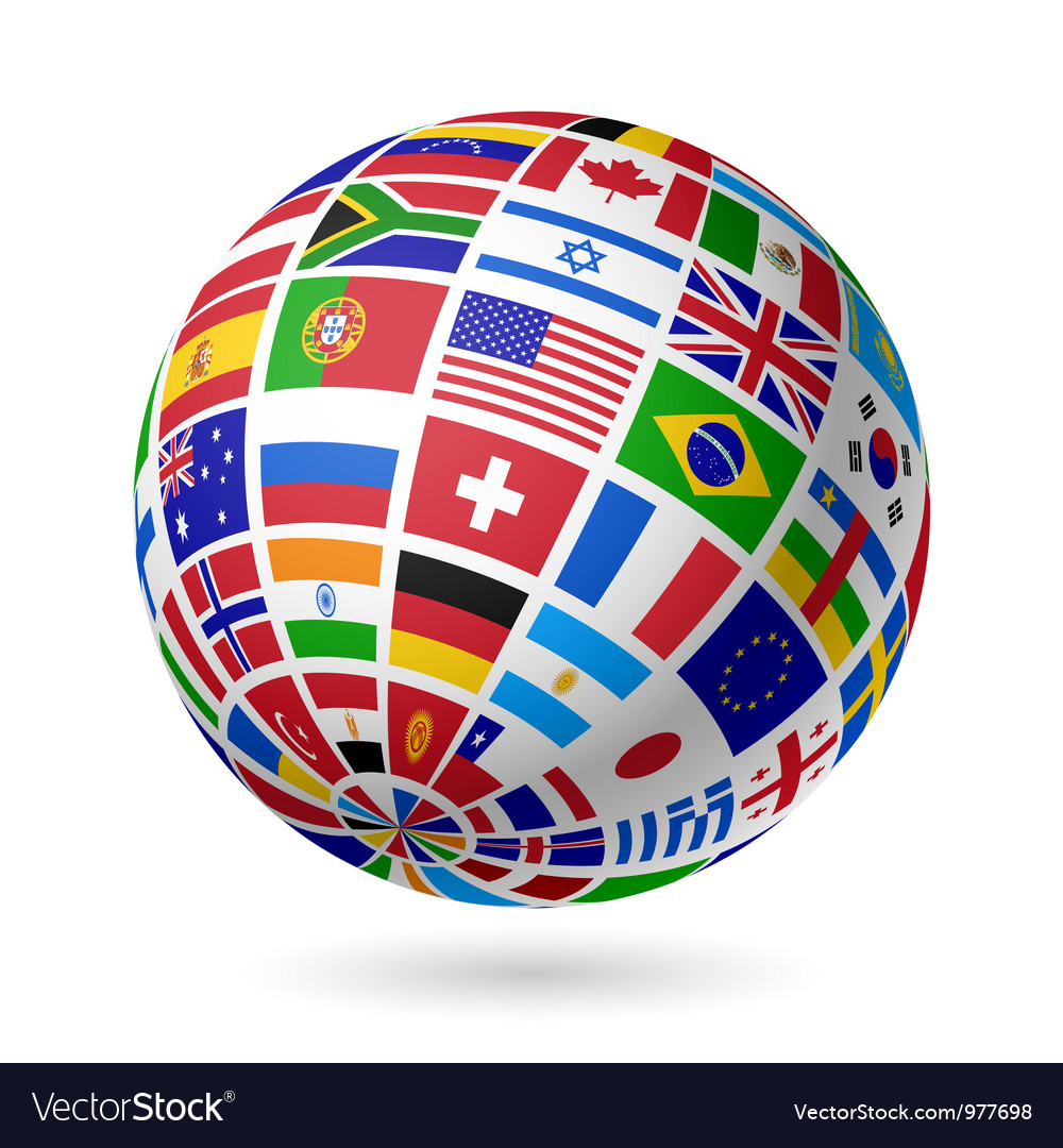 Flags globe vector