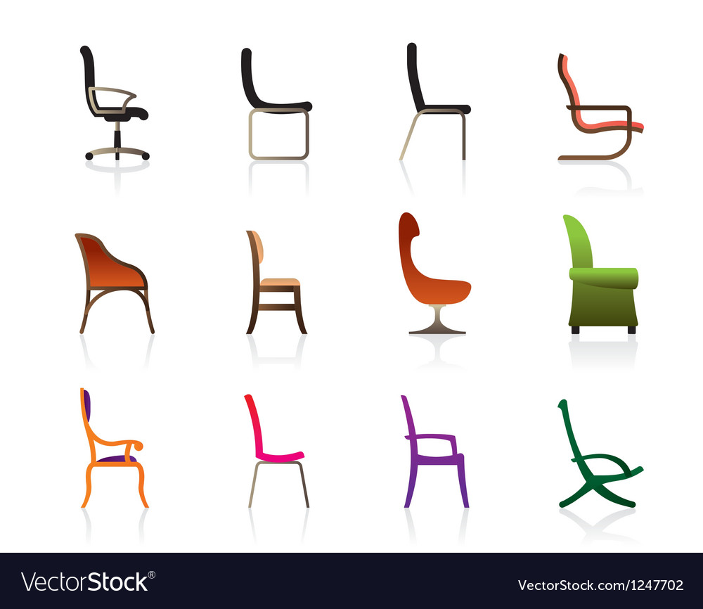 Luxury office interior and plastic chairs vector