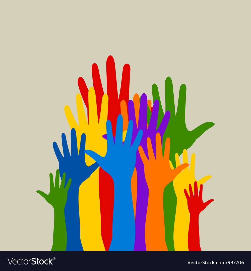 Abstract hands up background vector