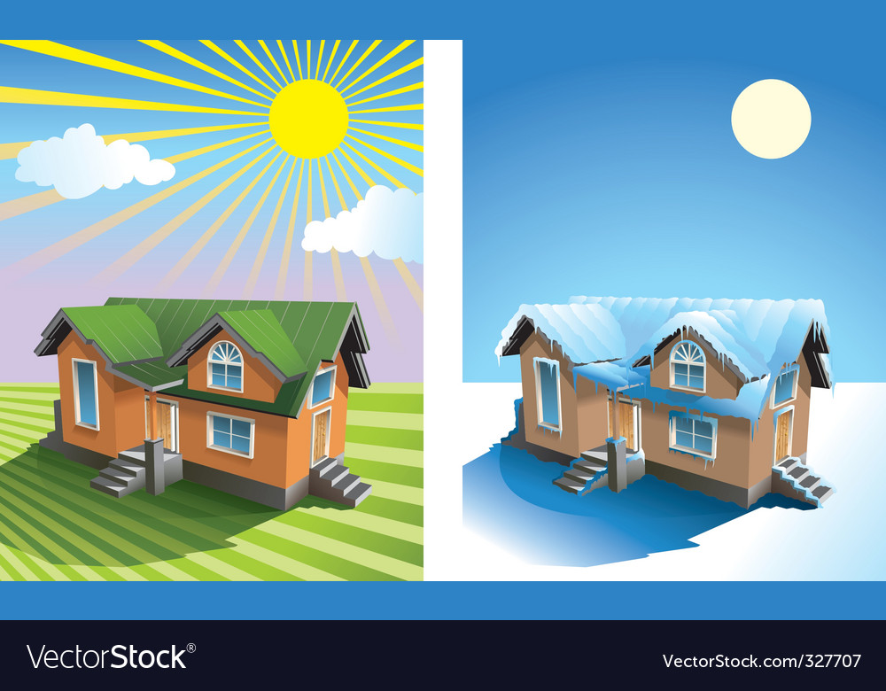 House in summer and winter vector
