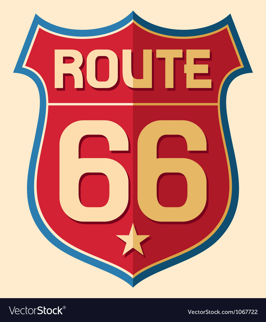Historic route us 66 sign vector