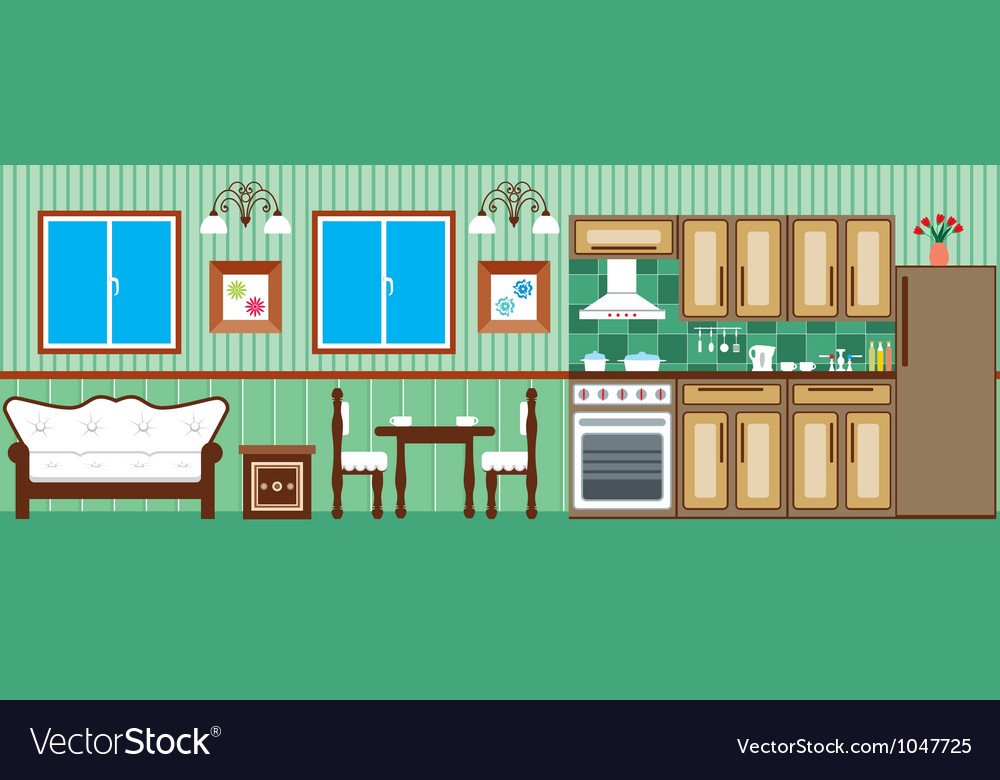 Dining room and kitchen vector