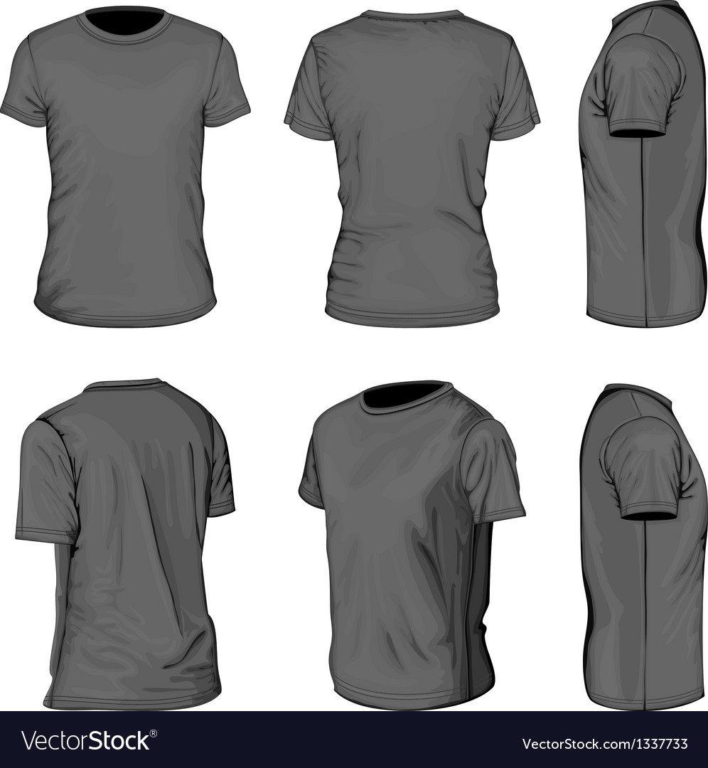 Mens black short sleeve tshirt design templates vector