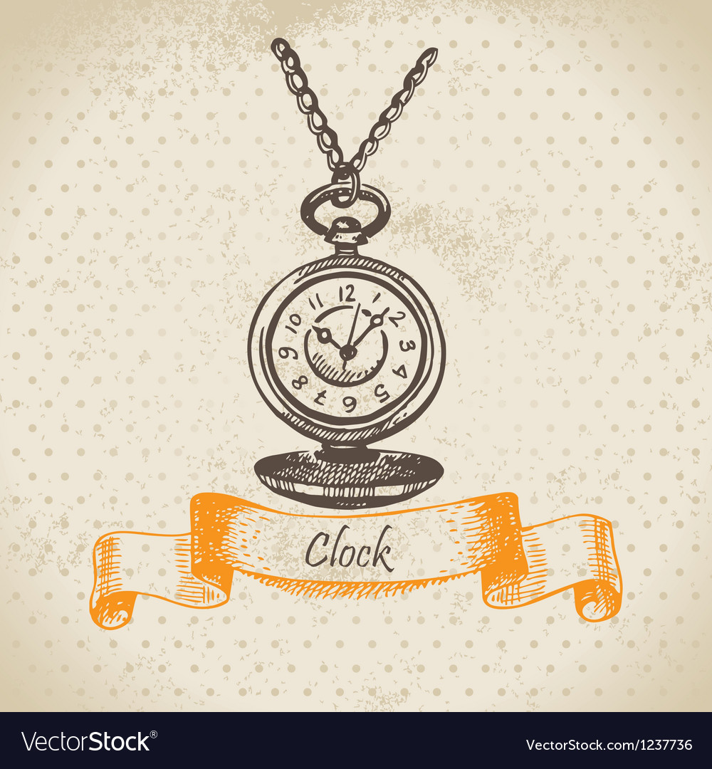Vintage clock hand drawn vector